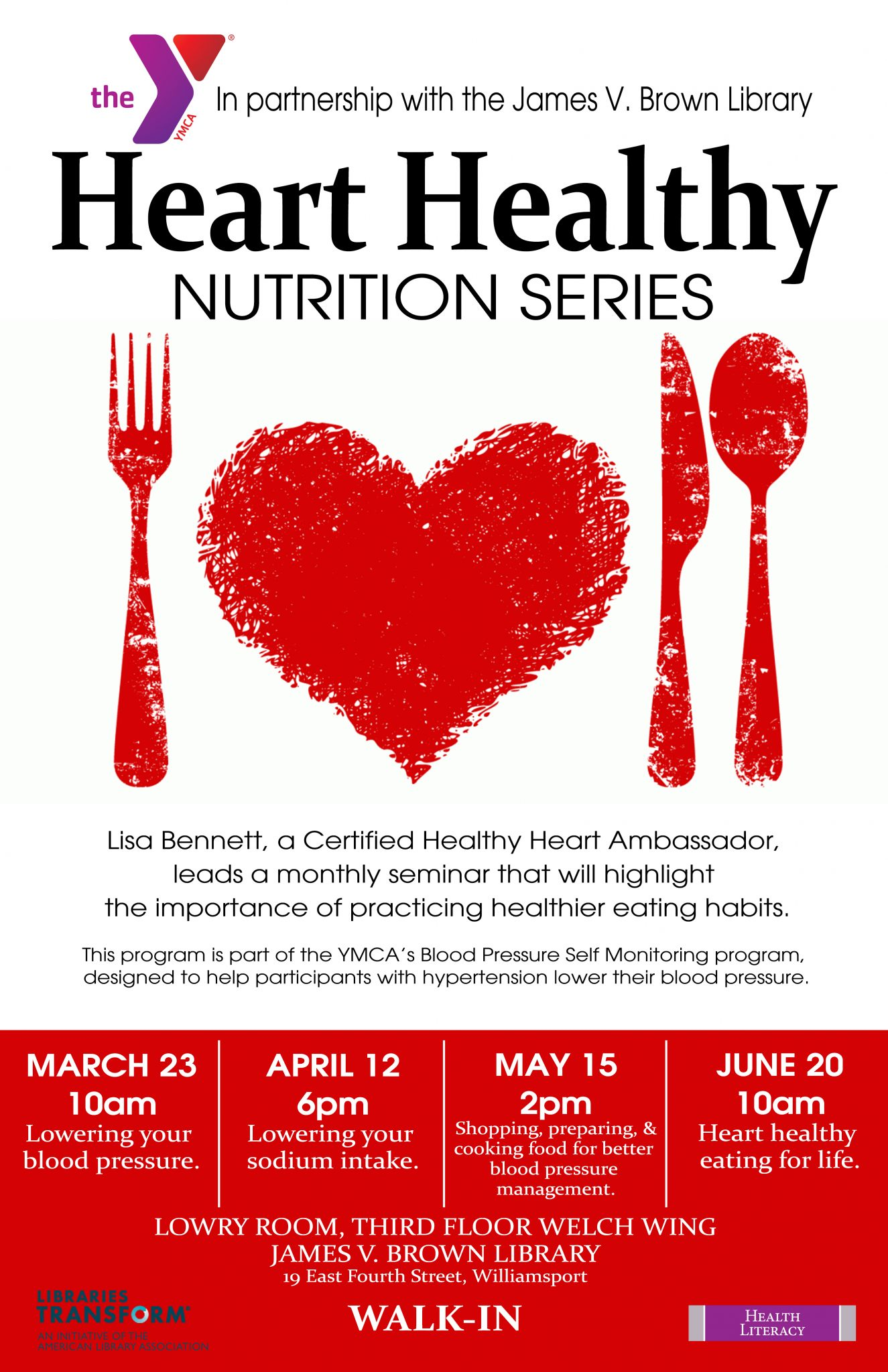 Library partners with ymca to offer heart healthy nutrition series the centers for disease control and prevention estimate that one out of every three adults have high blood pressure and only half have their condition under nvjuhfo Gallery