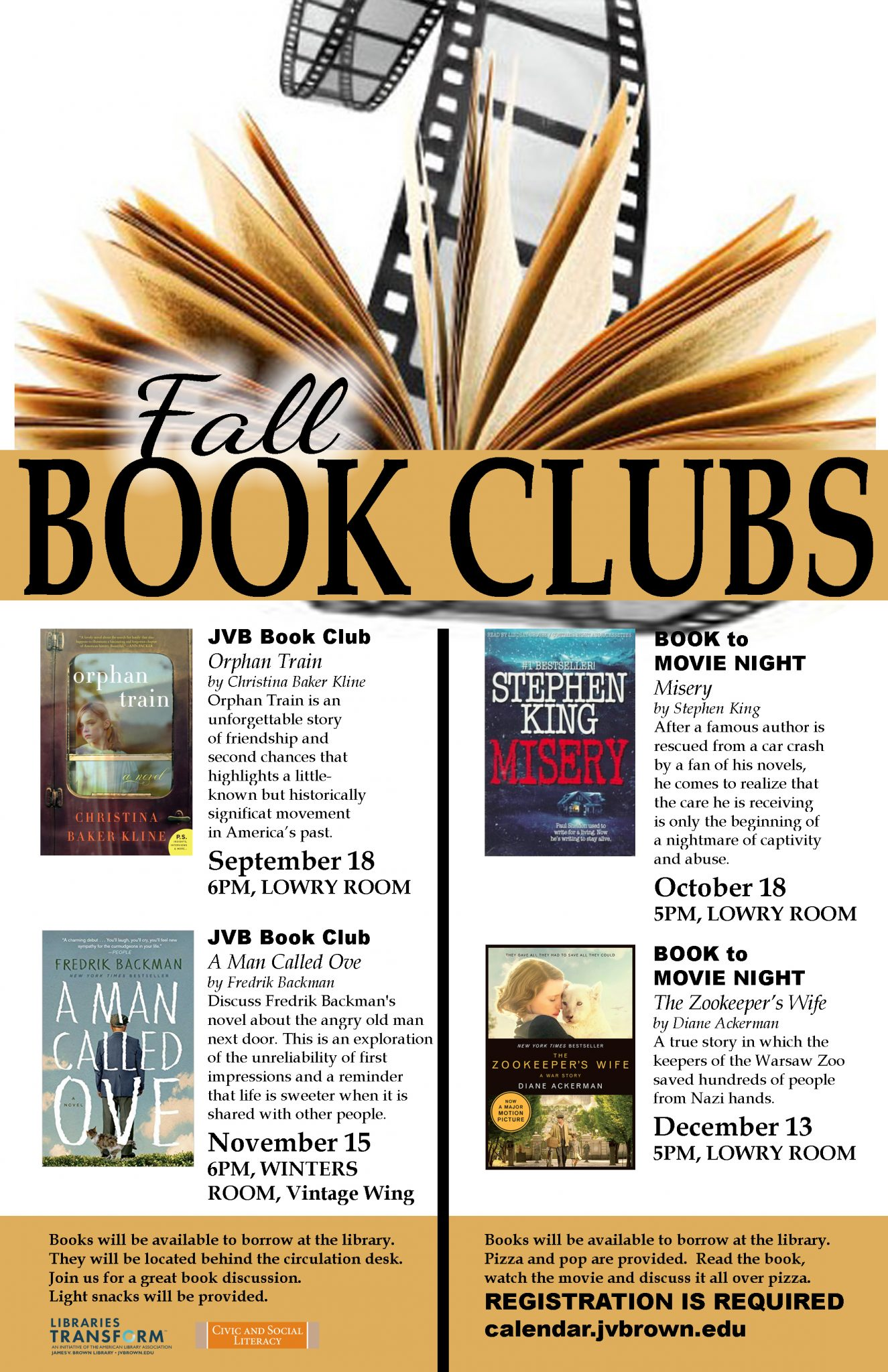 Library to hold book club and book-to-movie nights this fall